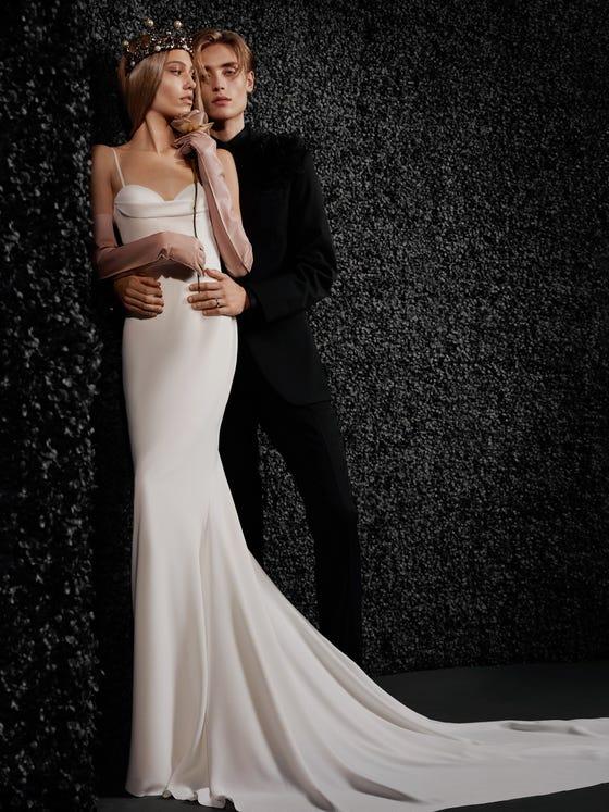 parte delantera vestido novia corte sirena espalda descubierta crepe amandine