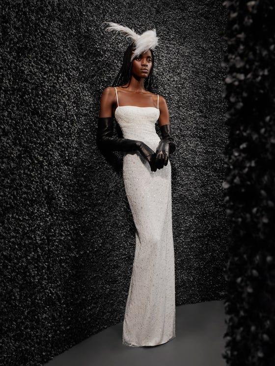parte delantera vestido novia recto palabra honor espalda descubierta jacqueline