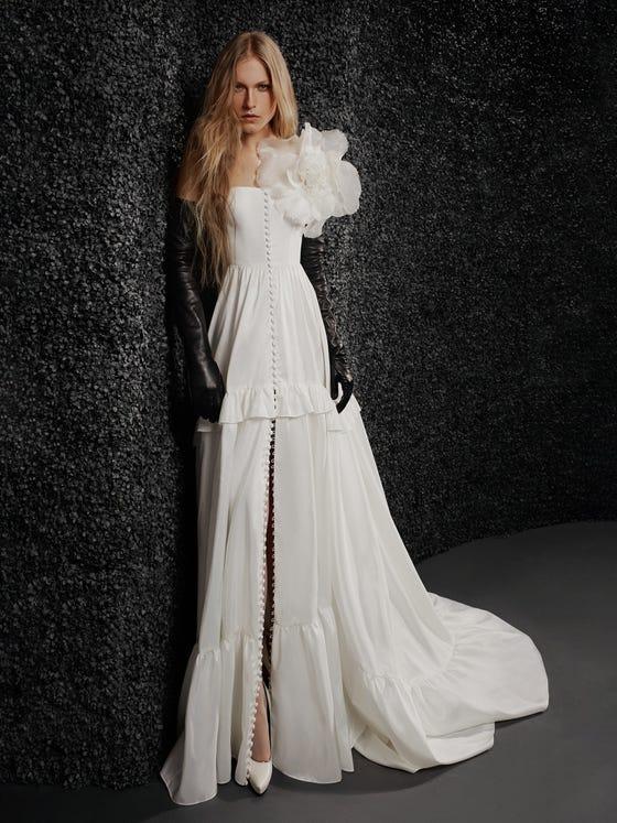 parte delantera vestido novia palabra honor corte en a laetitia