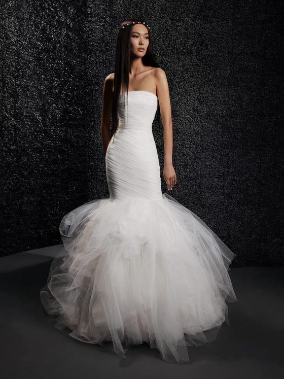 parte delantera vestido novia fit flare palabra honor espalda descubierta laurence