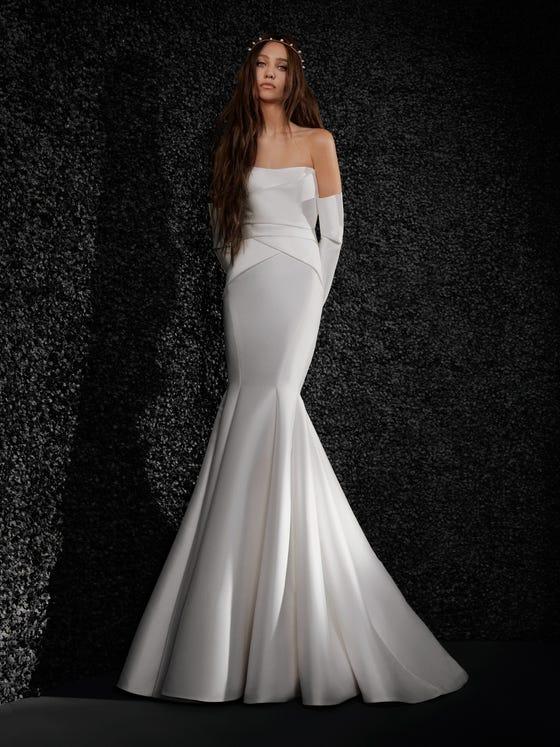 parte delantera vestido novia fit flare mikado palabra honor espalda descubierta lucille