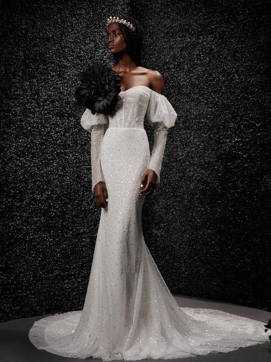 parte delantera vestido novia corte sirena manga larga espalda descubierta lys
