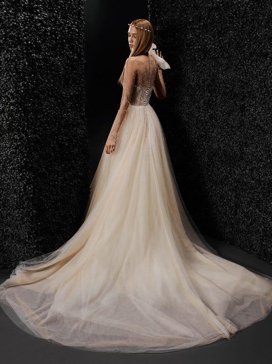 parte trasera vestido novia princesa manga larga marion
