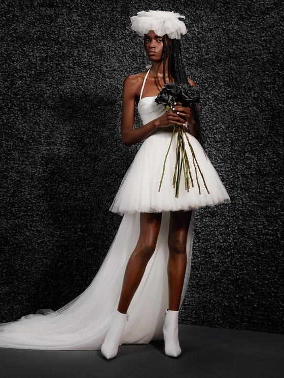 parte delantera vestido novia escote palabra honor corte en a maud