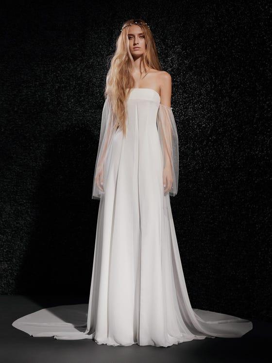 parte delantera vestido novia gasa corte en a palabra honor espalda descubierta mylene